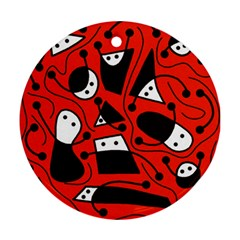 Playful abstract art - red Ornament (Round)