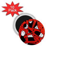 Playful abstract art - red 1.75  Magnets (10 pack)