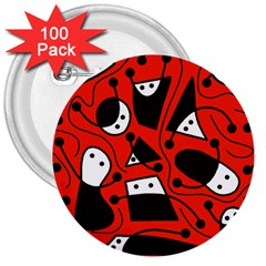 Playful abstract art - red 3  Buttons (100 pack)