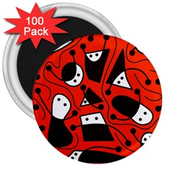 Playful abstract art - red 3  Magnets (100 pack)