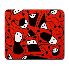 Playful abstract art - red Large Mousepads