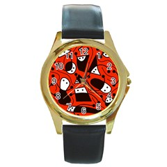 Playful abstract art - red Round Gold Metal Watch
