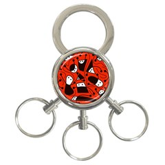 Playful abstract art - red 3-Ring Key Chains