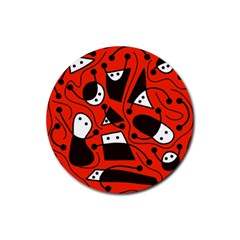 Playful abstract art - red Rubber Coaster (Round)