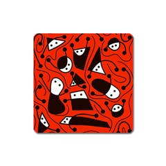 Playful abstract art - red Square Magnet