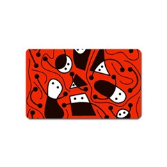 Playful abstract art - red Magnet (Name Card)