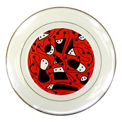 Playful abstract art - red Porcelain Plates
