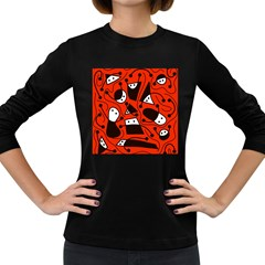 Playful abstract art - red Women s Long Sleeve Dark T-Shirts