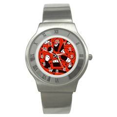 Playful abstract art - red Stainless Steel Watch