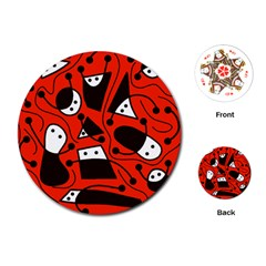 Playful abstract art - red Playing Cards (Round)