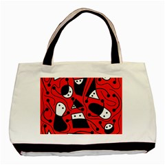 Playful abstract art - red Basic Tote Bag