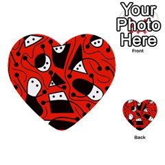 Playful abstract art - red Multi-purpose Cards (Heart)