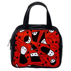 Playful abstract art - red Classic Handbags (One Side)