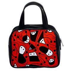 Playful abstract art - red Classic Handbags (2 Sides)