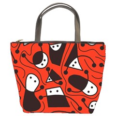 Playful abstract art - red Bucket Bags