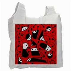 Playful abstract art - red Recycle Bag (One Side)