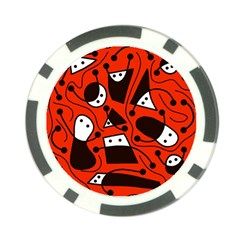 Playful abstract art - red Poker Chip Card Guards (10 pack)