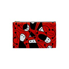 Playful abstract art - red Cosmetic Bag (Small)