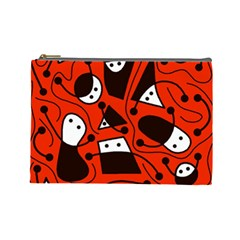 Playful abstract art - red Cosmetic Bag (Large)