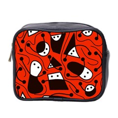 Playful abstract art - red Mini Toiletries Bag 2-Side