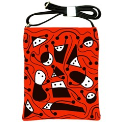 Playful abstract art - red Shoulder Sling Bags
