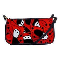 Playful abstract art - red Shoulder Clutch Bags