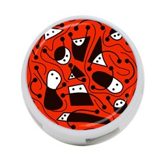 Playful abstract art - red 4-Port USB Hub (One Side)