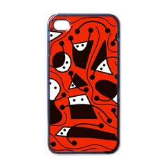 Playful abstract art - red Apple iPhone 4 Case (Black)