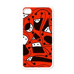 Playful abstract art - red Apple iPhone 4 Case (White)