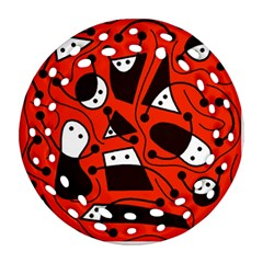 Playful abstract art - red Ornament (Round Filigree)