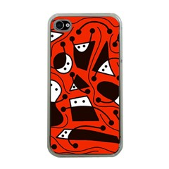 Playful abstract art - red Apple iPhone 4 Case (Clear)