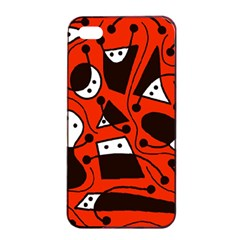 Playful abstract art - red Apple iPhone 4/4s Seamless Case (Black)