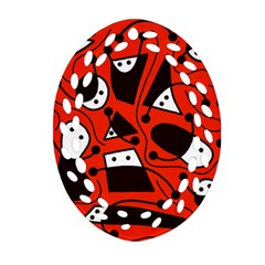 Playful abstract art - red Oval Filigree Ornament (2-Side)