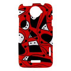 Playful abstract art - red HTC One X Hardshell Case