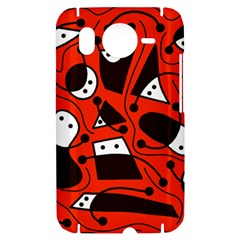 Playful abstract art - red HTC Desire HD Hardshell Case