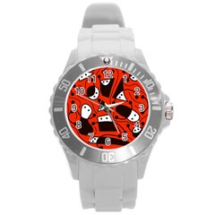 Playful abstract art - red Round Plastic Sport Watch (L)
