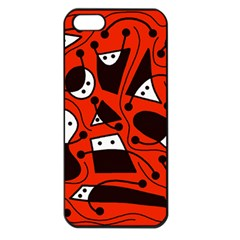 Playful abstract art - red Apple iPhone 5 Seamless Case (Black)