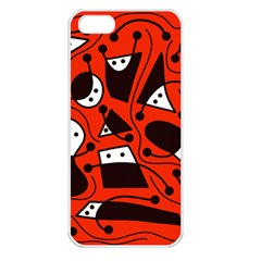 Playful abstract art - red Apple iPhone 5 Seamless Case (White)