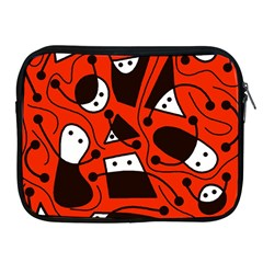 Playful abstract art - red Apple iPad 2/3/4 Zipper Cases