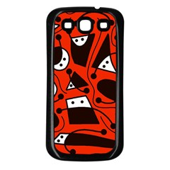 Playful abstract art - red Samsung Galaxy S3 Back Case (Black)