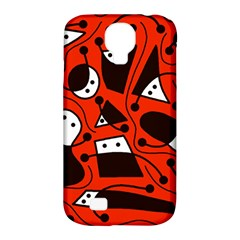 Playful abstract art - red Samsung Galaxy S4 Classic Hardshell Case (PC+Silicone)