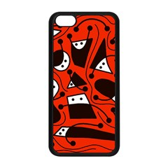 Playful abstract art - red Apple iPhone 5C Seamless Case (Black)