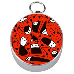 Playful abstract art - red Silver Compasses