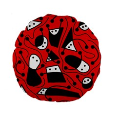 Playful abstract art - red Standard 15  Premium Flano Round Cushions