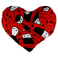 Playful abstract art - red Large 19  Premium Flano Heart Shape Cushions