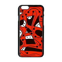 Playful abstract art - red Apple iPhone 6/6S Black Enamel Case