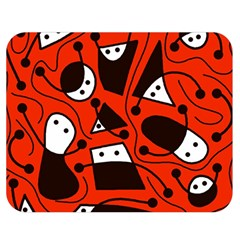 Playful abstract art - red Double Sided Flano Blanket (Medium)
