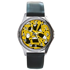 Playful abstract art - Yellow Round Metal Watch
