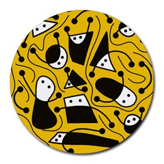 Playful abstract art - Yellow Round Mousepads