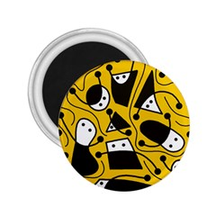 Playful abstract art - Yellow 2.25  Magnets